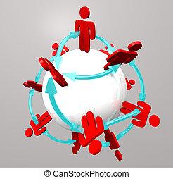 connexions, gens, -, réseau, social