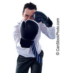 constitué, boxe, poser, poinçon, homme