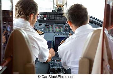 constitué, pilotes, opération, commandes, jet