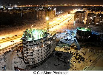 construction bâtiments, site, nuit