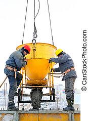 construction, béton, ouvriers, emplacement travail
