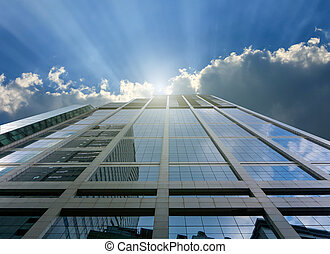 construction bleu, bureau, moderne, haut fin