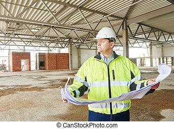 construction, contremaître, chantier
