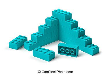 construction, début, 3d, blocs, bâtiment, jouet