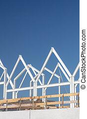 construction, famille, maisons, ciel bleu, devant, clair, nouveau, pays-bas, contemporain