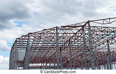 construction, site., bâtiment, cadre, nouveau