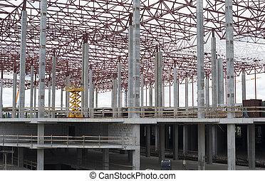 construction, site., nouveau, cadre, bâtiment