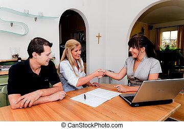 consultant, appartement, contrat, signature