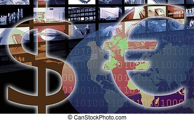 contre, business, dollar, currency., constitué, euro