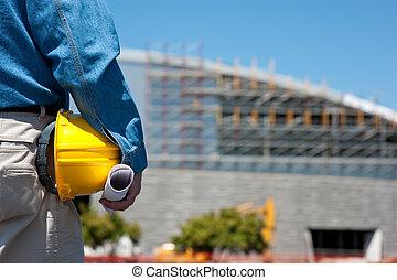 contremaître, ouvrier construction, site, ou