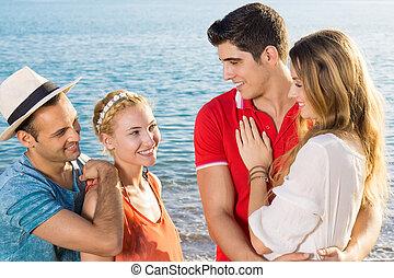 conversation, paires, plage, couple