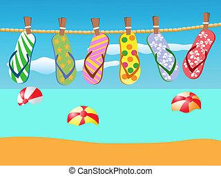 corde, sandales, plage, pendu