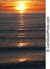 coucher soleil, côte