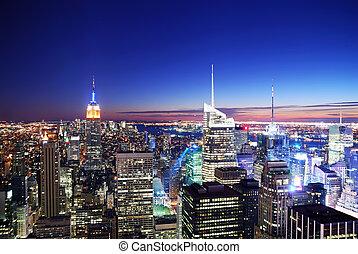 coucher soleil, horizon manhattan, ville, york, nouveau