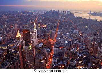 coucher soleil, manhattan, vue, horizon, aérien, panorama, ville, york, nouveau