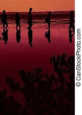 coucher soleil, marche, silhouette, mer, famille