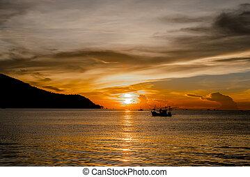 coucher soleil, mer, beau