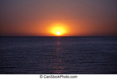 coucher soleil, mer noire, beau