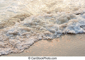 coucher soleil, mer, vague