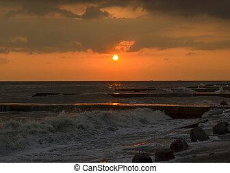 coucher soleil, rivage mer