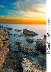 coucher soleil, rivage, noir, rocheux, mer