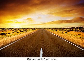 coucher soleil, route