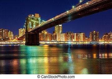 coucher soleil, sur, york, manhattan, -, ville, pont, nouveau, brooklyn, beau