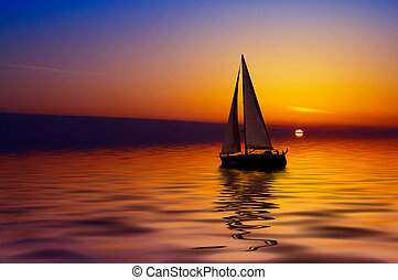 coucher soleil, voile
