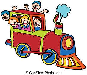 couleur, cavalcade, train, dessin animé