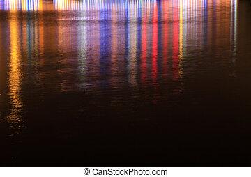 couleur, lumière, surface eau, nuit