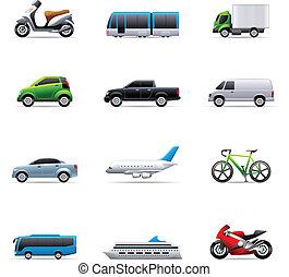 couleur, -, transport, icônes