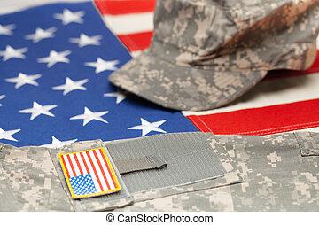 coup, usa, sur, -, il, nous, uniforme, drapeau, studio, militaire