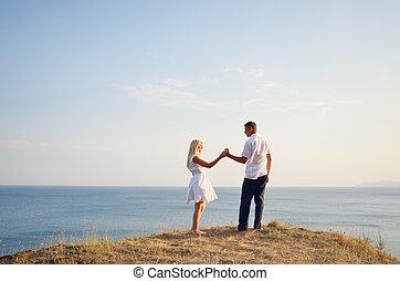 couple, délassant, mer