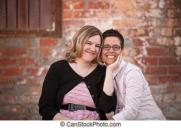 couple, lesbienne, dehors