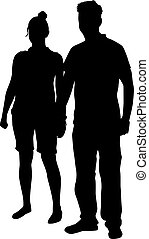 couple, noir, gens, jeune, silhouette.