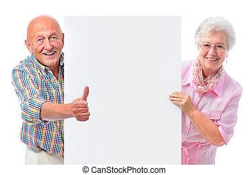 couple, planche, vide, sourire, personne agee, heureux