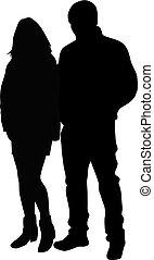 couple, silhouette., gens, noir