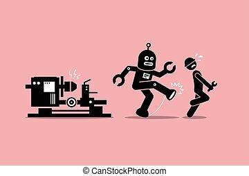 coups pied, sien, humain, loin, ouvrier, robot, technicien, métier, mécanicien, factory.