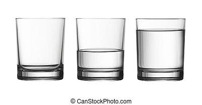 coupure, entiers, isolé, arrosez verre, bas, moitié, included, sentier, blanc, vide
