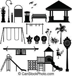 cour de récréation, parc, enfants, jardin