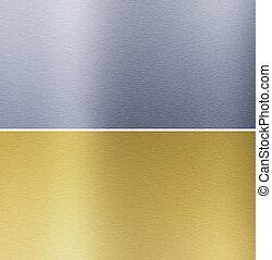 cousu, textures, laiton, aluminium