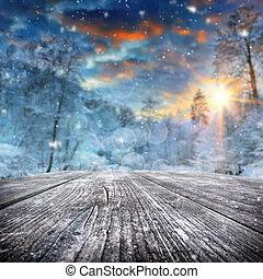 couvert, forêt, paysage hiver, neige