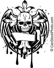 crâne, ailes, croix