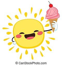 crème, soleil glace, tenue