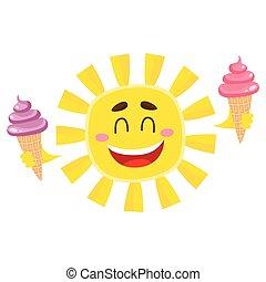 crème, soleil, isolé, glace, dessin animé, vecteur, illustration, tenue, sourire, heureux
