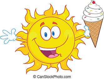 crème soleil, tenue, glace, heureux