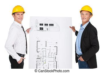 créé, développé, ouvriers, site, illustration, deux, orlder, plan., projection, ingénieurs