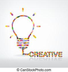 créatif, ampoule, lumière, idée, concept