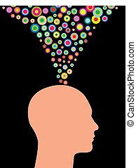 créatif, homme, pensées