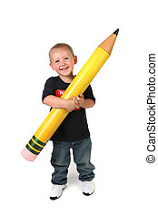 crayon, schoolage, grand, enfant avoirs, enfantqui commence à marcher